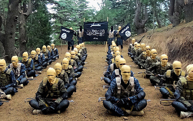 Isil fighters at a training camp in Afghanistan
