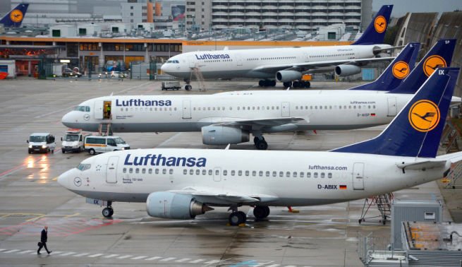 on October 21, 2014 in Frankfurt am Main, Germany. Vereinigung Cockpit, the labor union that represents the pilots, launched the two-day strike yesterday that has been expanded from short and medium-distance flights on the first day to long haul flights today, affecting over 100,000 passengers. This is the seventh strike by Lufthansa and Germanwings (a Lufthansa subsidiary) pilots this year as the union attempts to maintain the Lufthansa pilots' early retirement guarantee, a benefit that Lufthansa is trying to cut.